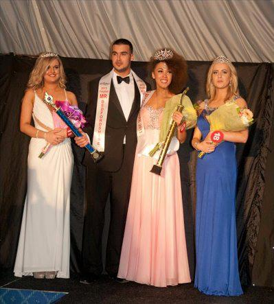 Robert Dawe with the top 3 from Miss Bedfordshire 2013