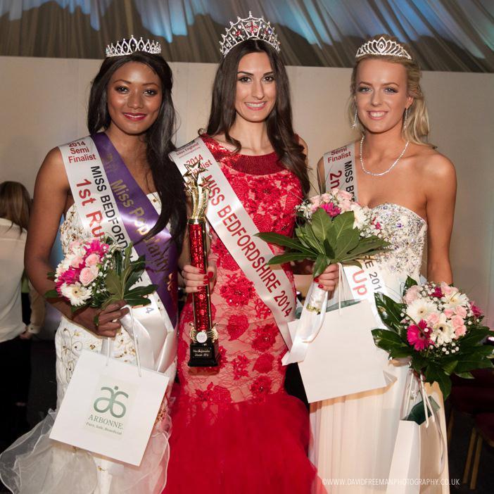 Miss Bedfordshire 2014 - (l-r) Mwaka Grace Silunyange, Jasmine Chavda, Megan Bayliss